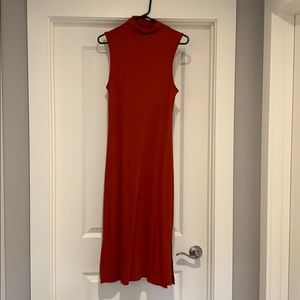 Ribbed orange/red sleeveless maxi dress , size M